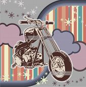 stock photo of street-rod  - Vector background with a motorcycle - JPG