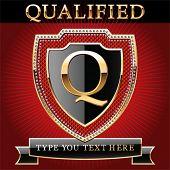 Постер, плакат: Щит в золото и бриллиант с алфавита буква q