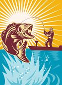 stock photo of fly rod  - illustration of a Largemouth Bass Fish jumping being reeled by Fly Fisherman on bass boat with Fishing rod 