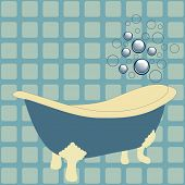 pic of h20  - retro bathtub with bubbles vector - JPG