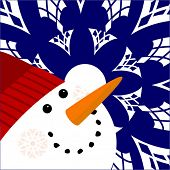 pic of full cheeks  - happy snowman with snowflakes  - JPG
