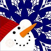 foto of full cheeks  - happy snowman with snowflakes  - JPG