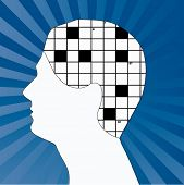 foto of brain-teaser  - male profile with crossword for brain  - JPG