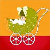 image of newborn baby girl  - baby in stroller - JPG
