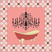 stock photo of clawfoot  - Antique bathtub with chandelier  - JPG