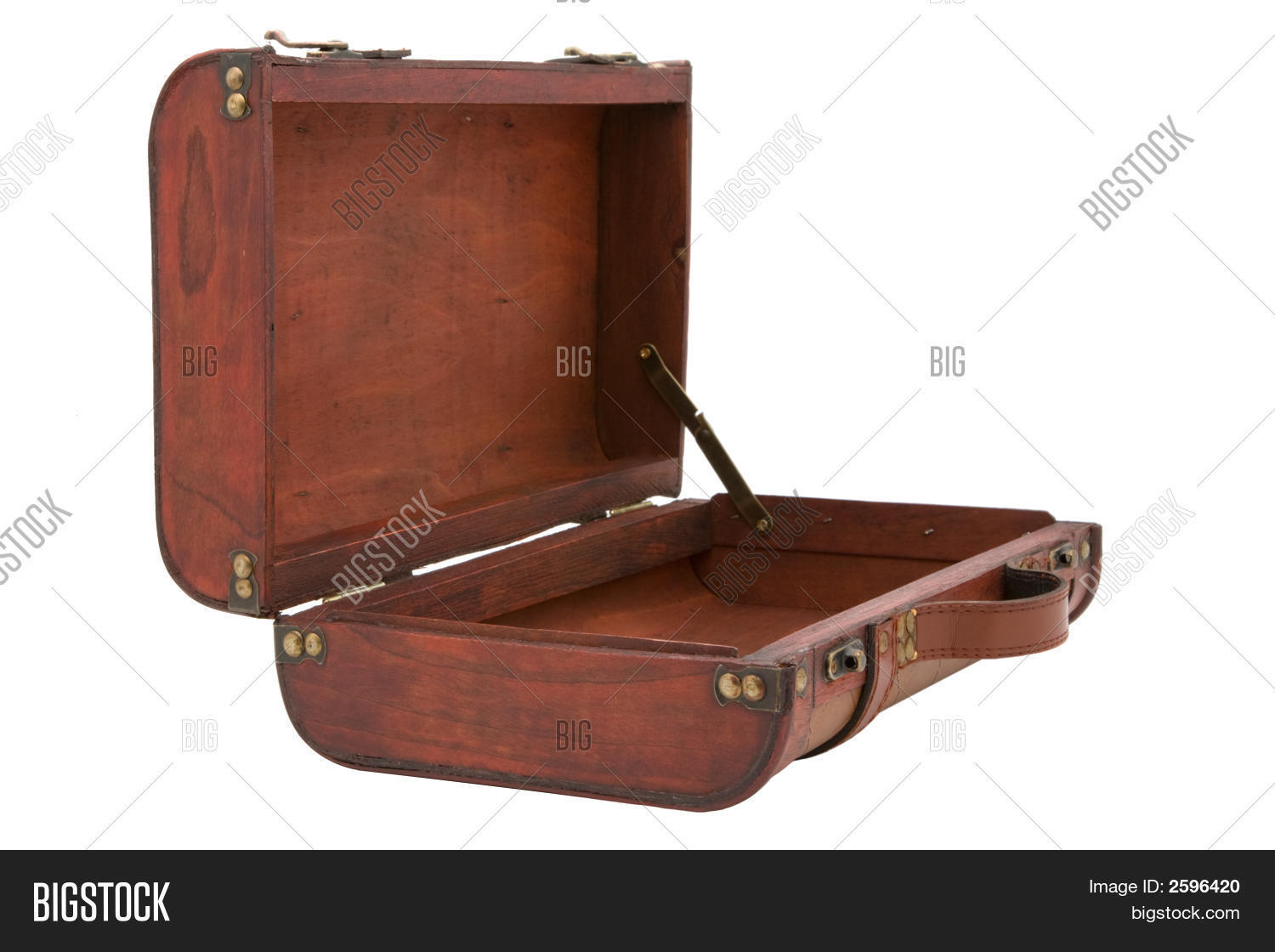 Vintage Wooden Suitcase Open On White Background Stock Photo ...