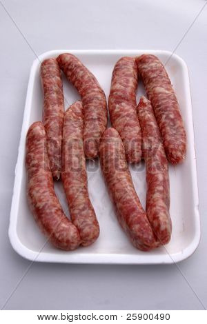 raw sausages ready for cooking