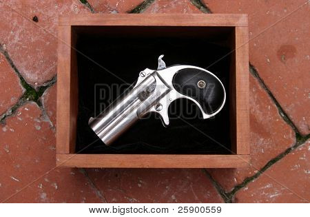 Circa 1889, Model 95, Type II Model 3 Double Derringer in its wooden display box on black velvet