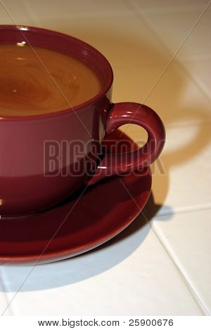 Large Cup and Saucer of fresh brewed coffee