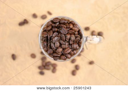 Glass coffee mug filled with unground coffee beans on a gold background