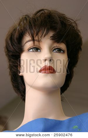 close up of a vintage mannequin in a second hand store