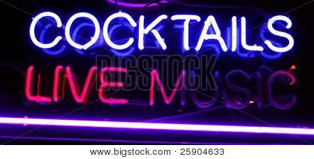 "Neon Sign series  ""cocktails, live music"""