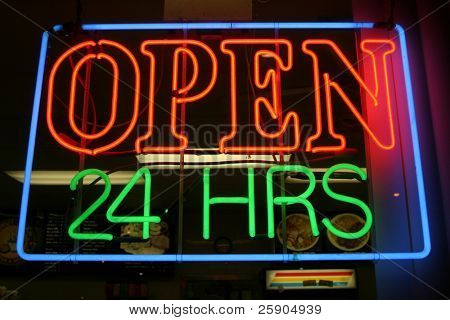 """neon sign"" series ""open 24 hrs"""
