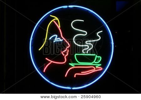 """neon sign"" series ""female face with steaming coffee cup"""