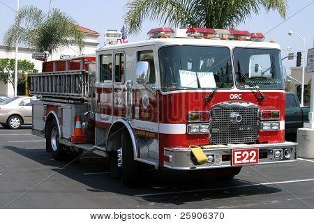 a fire truck in a parking lot