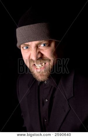 Angry Man In Knit Hat