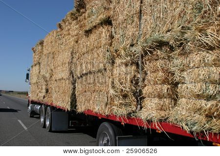 a semi truck hauling hay bails barrels down interstate 5 in northern california