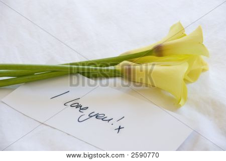 Yellow Lillies And Love Note