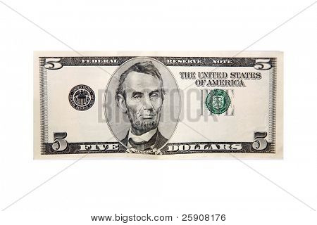 generic five dollar bill with the serial numbers removed for your text