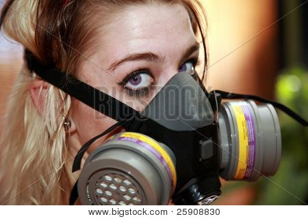 """a beautiful young woman wears a plastic """"paint mask"""" while in a """"tattoo parlor"""" because it makes a cool portrait"""