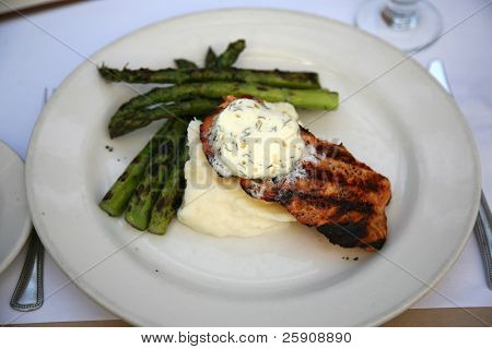 "a Delicious lunch of Fresh Wild Salmon Bar-B-Cued with a Lemon Dill ""hollandaise sauce"" and fresh boiled asparagus"