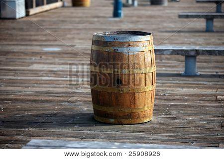 Old Oak Wine Barrels used for trash cans