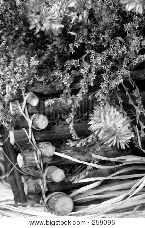 Dried Fall Flowers Basket Close Up 3 Bw F