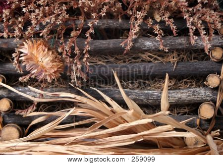 Dried Fall Flowers Basket Close Up 5 F