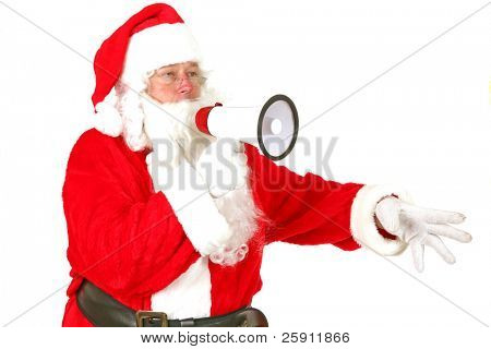 Santa Claus speaks though his Mega Phone to Get his Message of Christmas Cheer out to the world  isolated on white