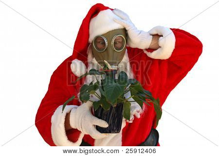 isolated on white santa claus wears a gas mask in an effort to get you to help him stop global warming
