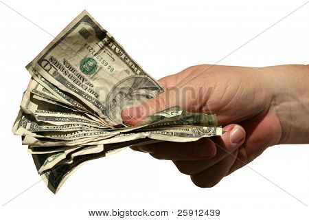 a human hand hands YOU the Viewer a fist full of money isolated on white