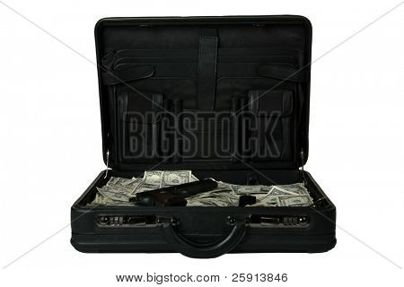 brief case full of cash and a handgun isolated on white