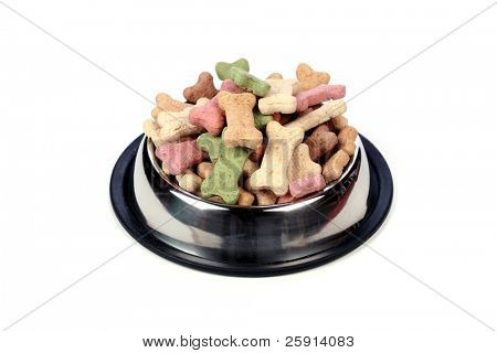 silver dog dish full of dog treats isolated on white