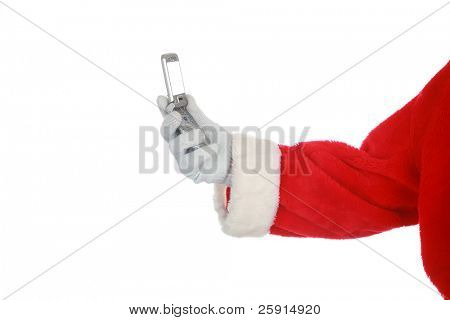 santa holds a cell phone isolated on white with room for your text