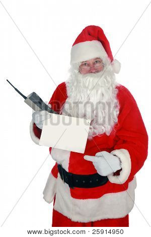 santa holds a blank sign and a 1980s era