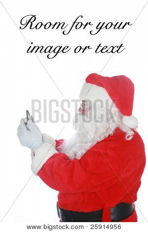 santa reads and sends text messages from his cell phone isolated on white  with room for your text