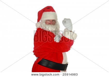 santa stands with his fist in the air isolated on white with room for your text