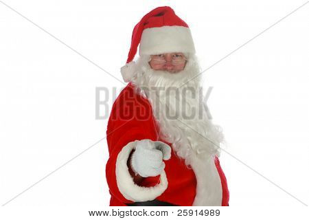 Santa Claus points directly at YOU the Viewer isolated on white with room for your text