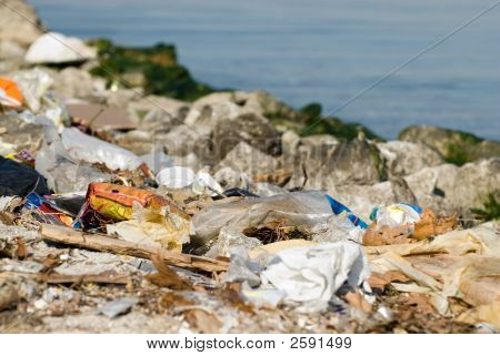 Garbages Near The Sea