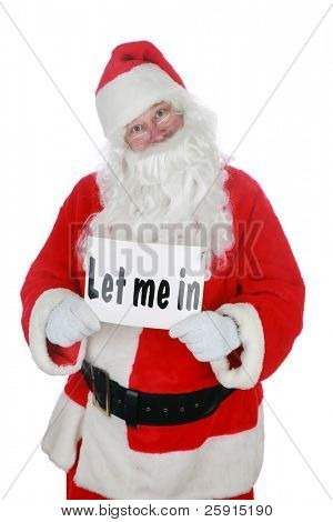 santa claus holds a sign that reads