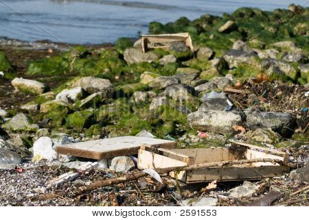 Garbages At The Seaside
