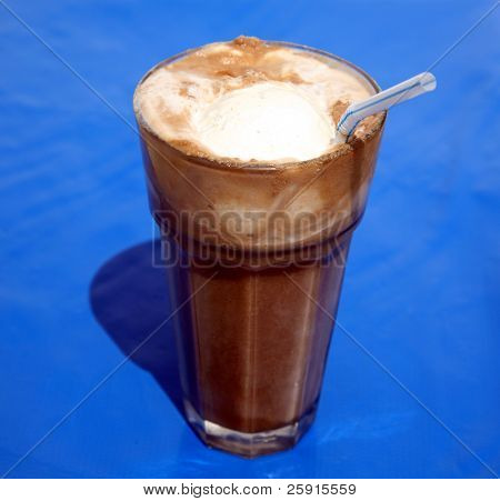 root beer float, on blue