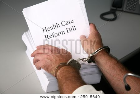Health Care Reform Bill a Doctor is Handcuffed to the bill against his will