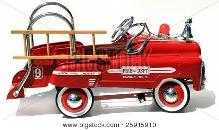 "generic childs metal pedal car firetruck ""isolated on white"""