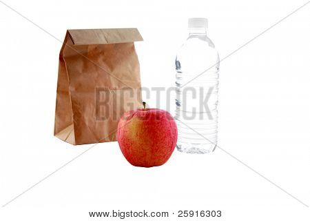 a bag lunch isolated on white
