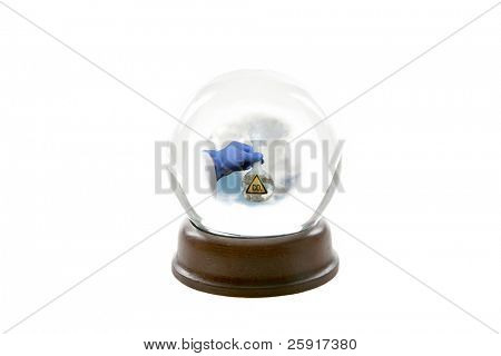"a fortune teller crystal ball, shows a ghostly image of a mad scientist holding a beaker of CO2 aka ""Carbon Dioxide"" releasing it into the earths atmosphere causing ""Global Warming"" isolated on white"