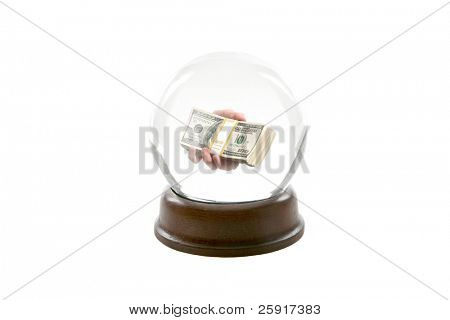 a fortune teller crystal ball, shows a ghostly image of a a persons hand handing you the viewer