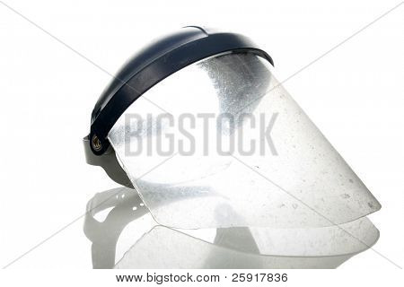 old used welder or grinders face shield, isolated on white