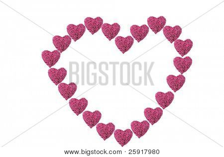 a Valentines Day Heart made from hot pink heart shaped roses isolated on white with room for your text