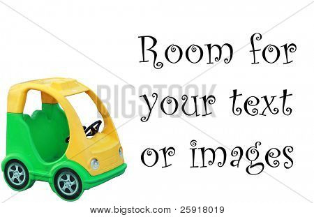 a green and yellow children plastic pedal car isolated on white with room for your text